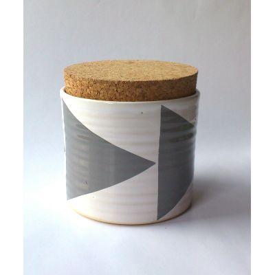 Triangles Tea Jar Grey
