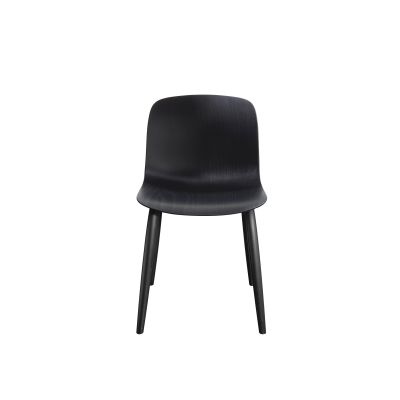 Troy Chair, 4 Legs with Front Cover - Set of 2 Black Frame, Beech Stained Black Seat, Steelcut Trio Yellow, Plywood