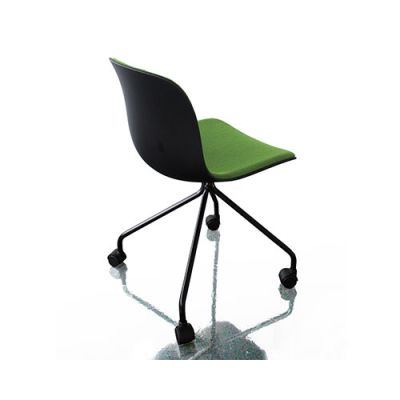 Troy Chair - 4 Star Base on Wheels with Front Cover Black, Beech Stained Black, Magis Leather Nero Black 795