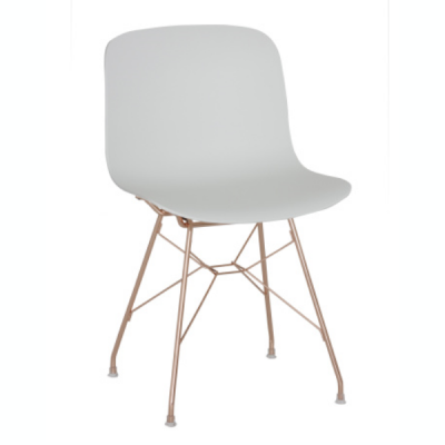 Troy Chair - Steel Rod Base White Frame, Natural Beech Seat