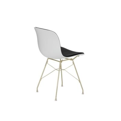 Troy Chair - Steel Rod Base with Front Cover Gold Frame, White Seat, Steelcut Trio 2 190