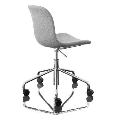 Troy Chair - Swivel Base on 5 Wheels - Fully Upholstered Divina Melange 2 180 Fabric and Black Base