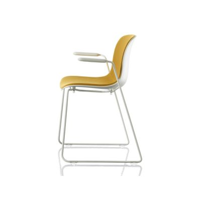 Troy Stacking Dining Chair with Armrests, Sledge Base with Front Cover - Set of 2 Chromed Frame, White Polypropylene Seat, Divina Melange 2 180