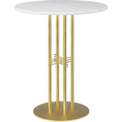 TS Column Bar Table Laminate Ø80, Brass, Gubi Laminate White