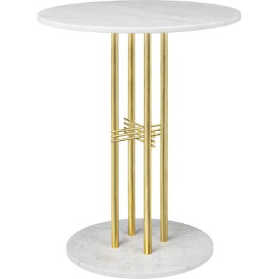 TS Column Bar Table Marble Ø80, Brass, Gubi Grey Emparador