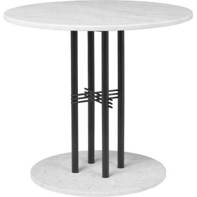 TS Column Dining Table Marble Ø150, Frame Brass, Gubi Marble Grey Emperador