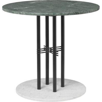 TS Column Dining Table Marble Ø80, Frame Matt Black, Gubi Marble Verde Guatemala