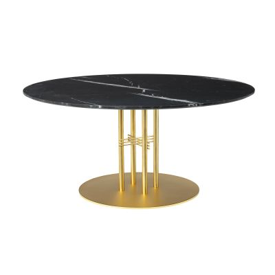TS Column Lounge Table Marble Ø130, Frame Brass, Gubi Marble Nero Marquina