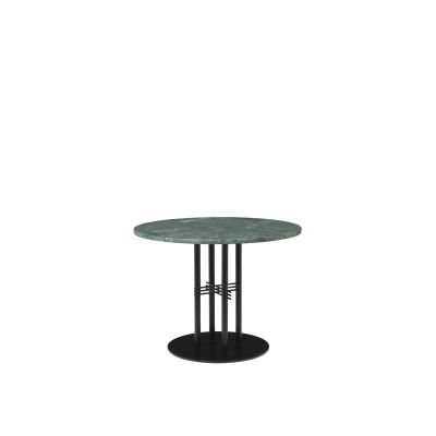 TS Column Lounge Table Marble Ø150, Frame Brass, Gubi Marble Grey Emperador