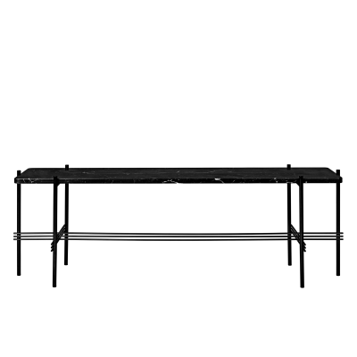 TS Rectangular Console Table with One Marble Plate Grey Top and Brass Frame