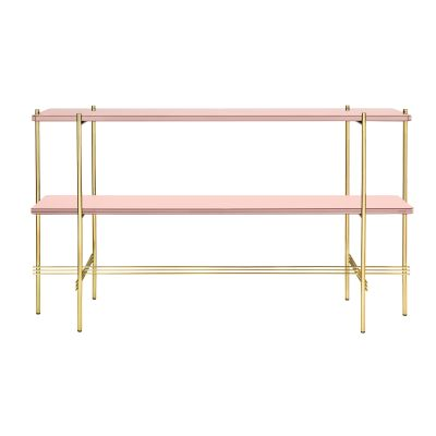 TS Rectangular Console Table with Two Glass Plates Gubi Glass Vintage Red, Gubi Metal Brass
