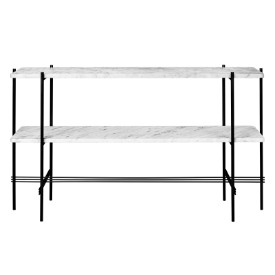 TS Rectangular Console Table with Two Marble Plates Frame Brass, Gubi Grey Emperador