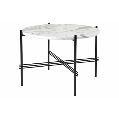 TS Round Coffee Table with Marble Top in Black Frame Gubi Marble Bianco Carrara, Gubi Metal Black, Ø55x41 cm