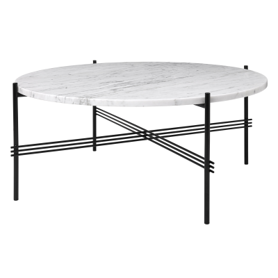 TS Round Coffee Table with Marble Top Gubi Marble Bianco Carrara, Gubi Metal Black, Ø 80 x 35 cm
