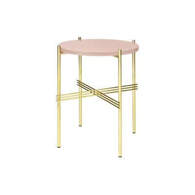 TS Round Side Table with Glass Top Vintage Red Top and Brass Frame, Ø 40 x 51 cm