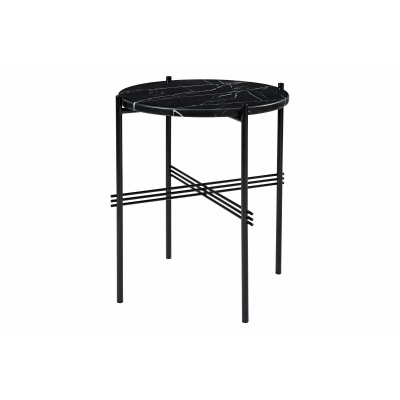 TS Round Side Table with Marble Top Black Top and Black Frame, Ø 40 x 51 cm