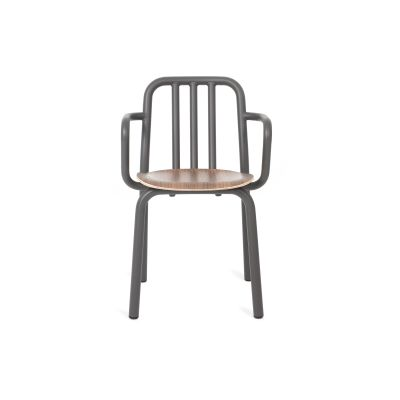 Tube Wooden Armchair Grey Anthracite, Varnished Walnut
