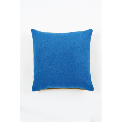 Tweed Twin Tone Cushion Sea Blue & Mustard Yellow