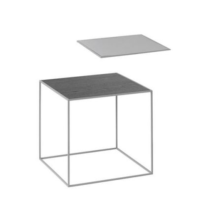 Twin Table - Square Cool Grey & Black Stained Ash, 35 x 35 cm, Grey Frame