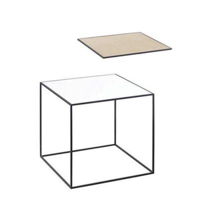 Twin Table - Square White & Oak, 35 x 35 cm, Black Frame