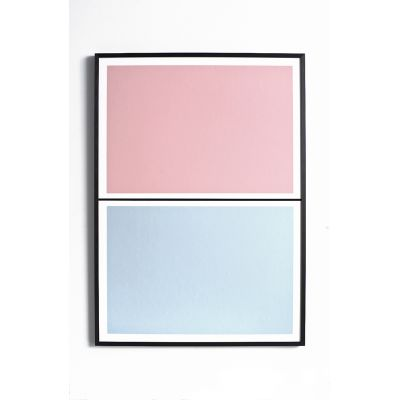 Twin Tone Play Screen Print - Granite Pink & Drift Blue With Frame