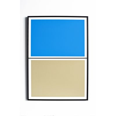 Twin Tone Play Screen Print - Pool Blue and Beach With Frame