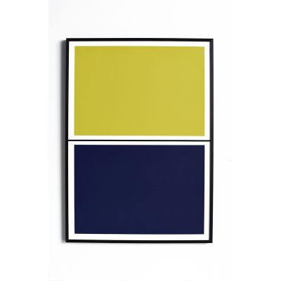 Twin Tone Play Screen Print - Yuzu Yellow & Mariana Blue With Frame