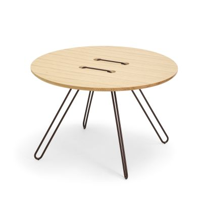 Twine Round Coffee Table bronze, solid natural oak