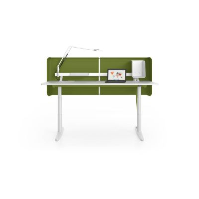 Tyde Meeting Sit-stand Meeting Table, 320 x 140 melamine soft light, with 2x cable outlets PORT - aluminium soft light powder-coated / plastic soft light, 1x Current Module power, 1x Current Module power, white powder-coated, polyester fleece green, infinitely variable with handset, Cable relief