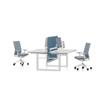 Tyde Meeting Table 320 x 140, Rectangular melamine soft light, with 2x cable outlets PORT - aluminium soft light powder-coated / plastic soft light, 1x Current Module power, 1x Current Module power, white powder-coated, not provided, polyester fleece gree