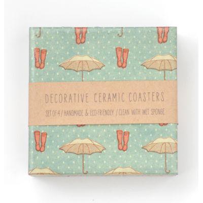 Umbrellas and Wellies Ceramic Tile Coasters