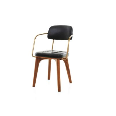 Utility Armchair U Wood Walnut Stained Ash, Caress Dark Brown