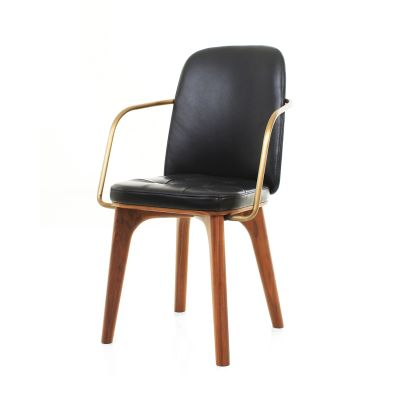 Utility Highback Armchair Wood Walnut Stained Ash, Hallingdal 65 166