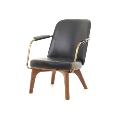 Utility Lounge Chair Wood Black Ash, Caress Peach