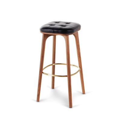 Utility Stool with Footrest Wood Walnut Stained Ash, Hallingdal 65 166, 61