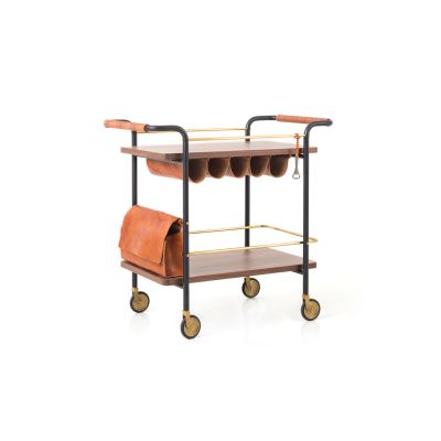 Valet Bar Cart Wood Soap Finished Walnut
