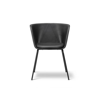 Verve 4 Leg fully upholstered Black Painted Steel, Leather 90 Nature