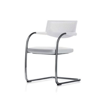 Visavis 2 Chair Non-Stacking powder-coated in basic dark, Plano 05 cream white/sierra grey, 30 basic dark, 04 glides for carpet