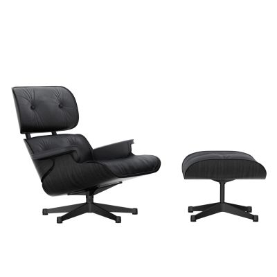 Vitra Eames Lounge Chair & Ottoman - Black Ash shell Leather Premium 66 nero, Fully powder coated black, 04 glides for carpet, 02 new dimensions