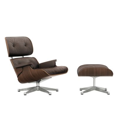 Vitra Eames Lounge Chair & Ottoman - black pigmented walnut veneer shell Leather Premium 69 marron, Polished aluminium, 04 glides for carpet, 01 classic dimensions
