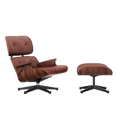 Vitra Eames Lounge Chair & Ottoman - santos palisander shell Leather Premium 93 brandy, Black sides - polished aluminium edges, 04 glides for carpet, Classic Dimension