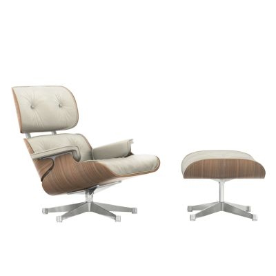 Vitra Eames Lounge Chair & Ottoman - White pigmented walnut veneer shell Leather Premium 73 clay, Polished aluminium, 05 felt glides for hard floor, 02 new dimensions