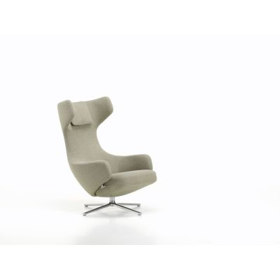 Vitra Grand Repos Lounge Chair 04 glides for carpet, 02 alumium polished, Cosy 10 classic grey, 01 41 cm
