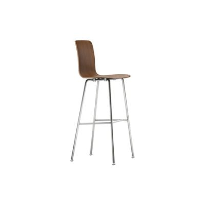 Vitra HAL Ply Stool High walnut black pigmented, 04 glides for carpet, 04 white