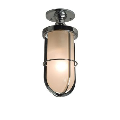 Weatherproof Ship's Well Glass Ceiling Light 7204 Chrome, Frosted glass