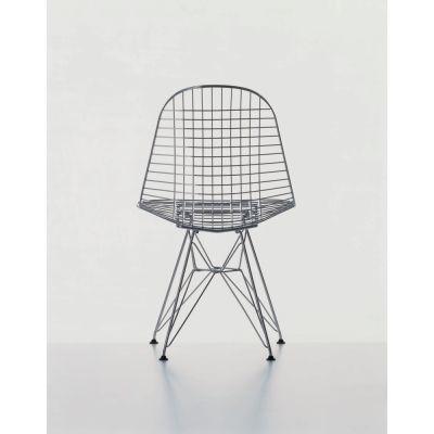 Wire Chair DKR 32 dark grey powder-coated, 15 felt white for hard floor