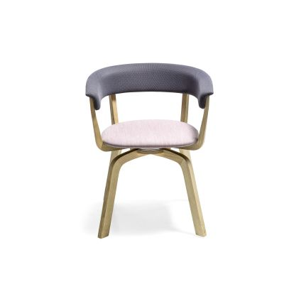 Wood Bikini Swivel Dining Chair with Upholstered Seat B0211 - Leather Oil cirè