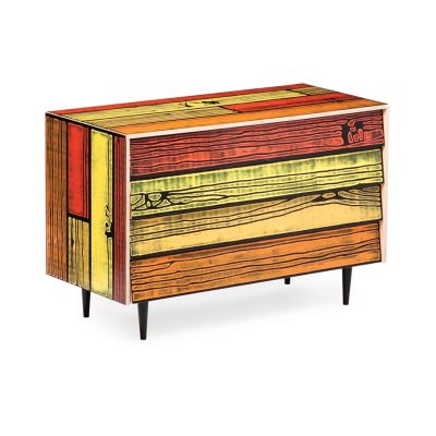 Wrongwoods Chest of drawers - L109 Yellow with Red