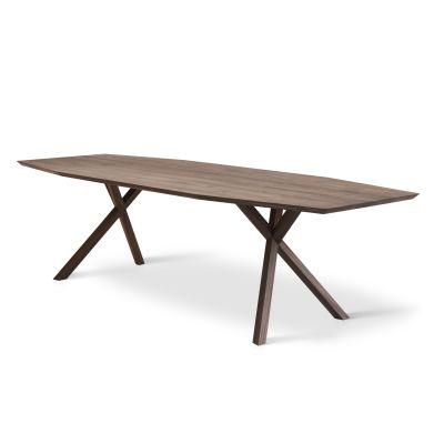 XY Trapezium Table Matt Lacquered Walnut, 105x360 cm