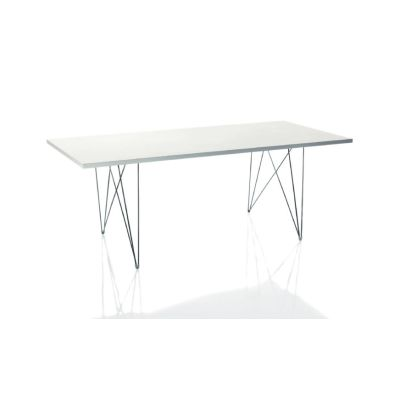XZ3 Dining Table - Rectangular Chromed Frame, White Top